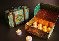 Festive Gift Pack: Colorful Blue Suitcase Gift Box with 12 electric tea lights