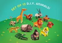 Set of 12 DIY Mini Animal Educational Papercraft Kits: Endangered Wildlife Series