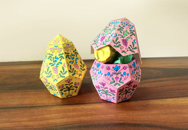 Printable Easy DIY Easter Egg Box to colour and make: Instant digital download