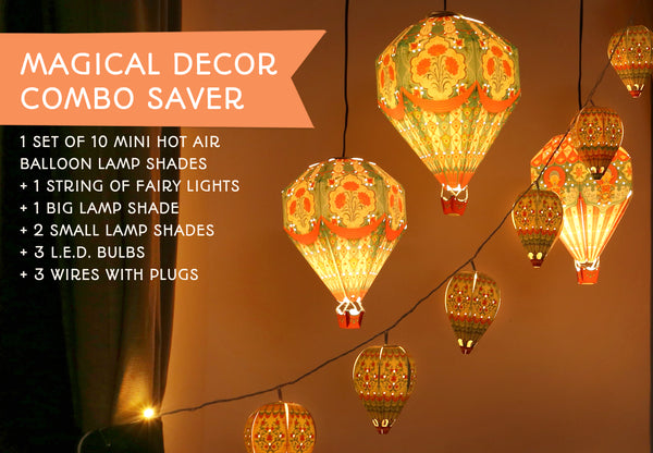 Magical Decor Combo Saver: Set of 3 Hot Air Balloon Paper Lamp Shades + 3 LED bulbs & wires + set of 10 Mini Hot Air Balloons with Fairy Lights
