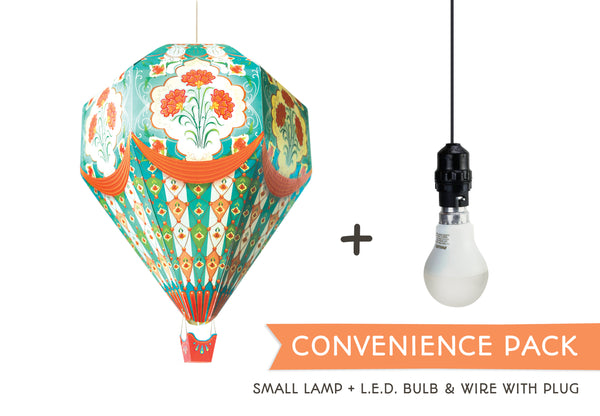 Convenience Pack with LED Bulb & Wire: DIY Paper Hot Air Balloon Paper Lamp Shade: Small Blue Design