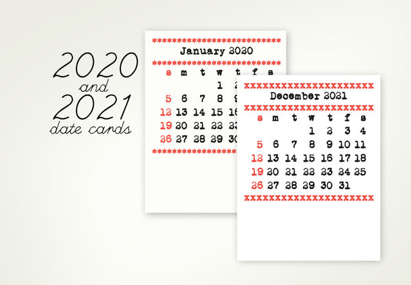 2020 and 2021 Date Card Refills for the Typewriter Calendars
