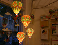 Convenience Pack with LED Bulb & Wire: DIY Paper Hot Air Balloon Paper Lamp Shade: Small Red Design