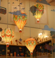 Instant Decor Combo Saver: Set of 3 Hot Air Balloon Paper Lamp Shades + 3 LED bulbs with wires