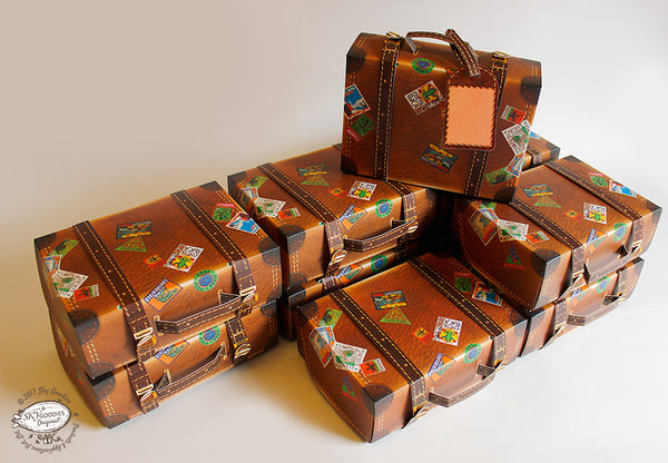 Set of 10 Brown Travel Suitcase Gift Boxes
