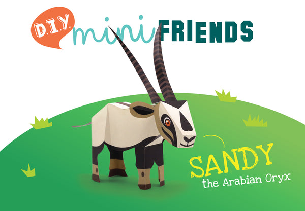Mini Arabian Oryx Educational DIY Paper Craft Kit: Endangered Wildlife Series