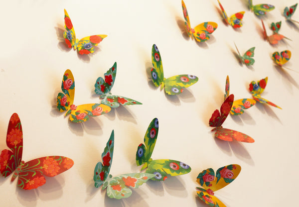 Set of 24 Decorative Paper Butterflies - Paper Craft for Home Decoration