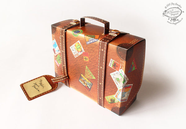 Snap-fit Gift Box: Travel Suitcase: Brown