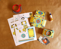 Camera Photo Frame: Colourful Yellow Design - DIY Paper Craft Kit