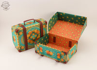 Set of 10 Colorful Blue Suitcase Gift Boxes