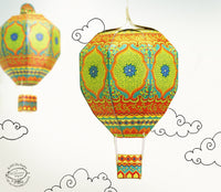 Mini Hot Air Balloon: Green design - DIY Paper Craft Kit