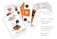 Orange Typewriter Desk Calendar 2021 & 2022 - DIY Paper Craft Kit