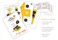 Yellow Typewriter Desk Calendar 2021 & 2020 - DIY Paper Craft Kit