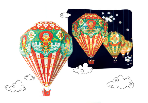 Small Hot Air Balloon Lamp Shade: Red Design - DIY Paper Craft Kit