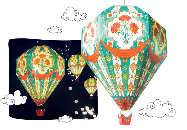 Big Hot Air Balloon Lamp Shade: Blue Design - DIY Paper Craft Kit