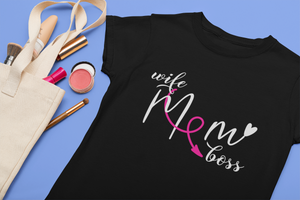 wife mom boss black t-shirt