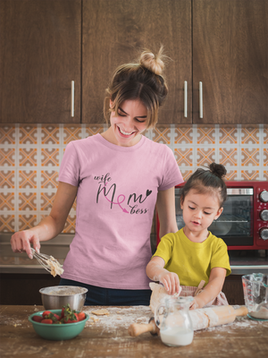 cute mother in pink T-shirt with her daughter