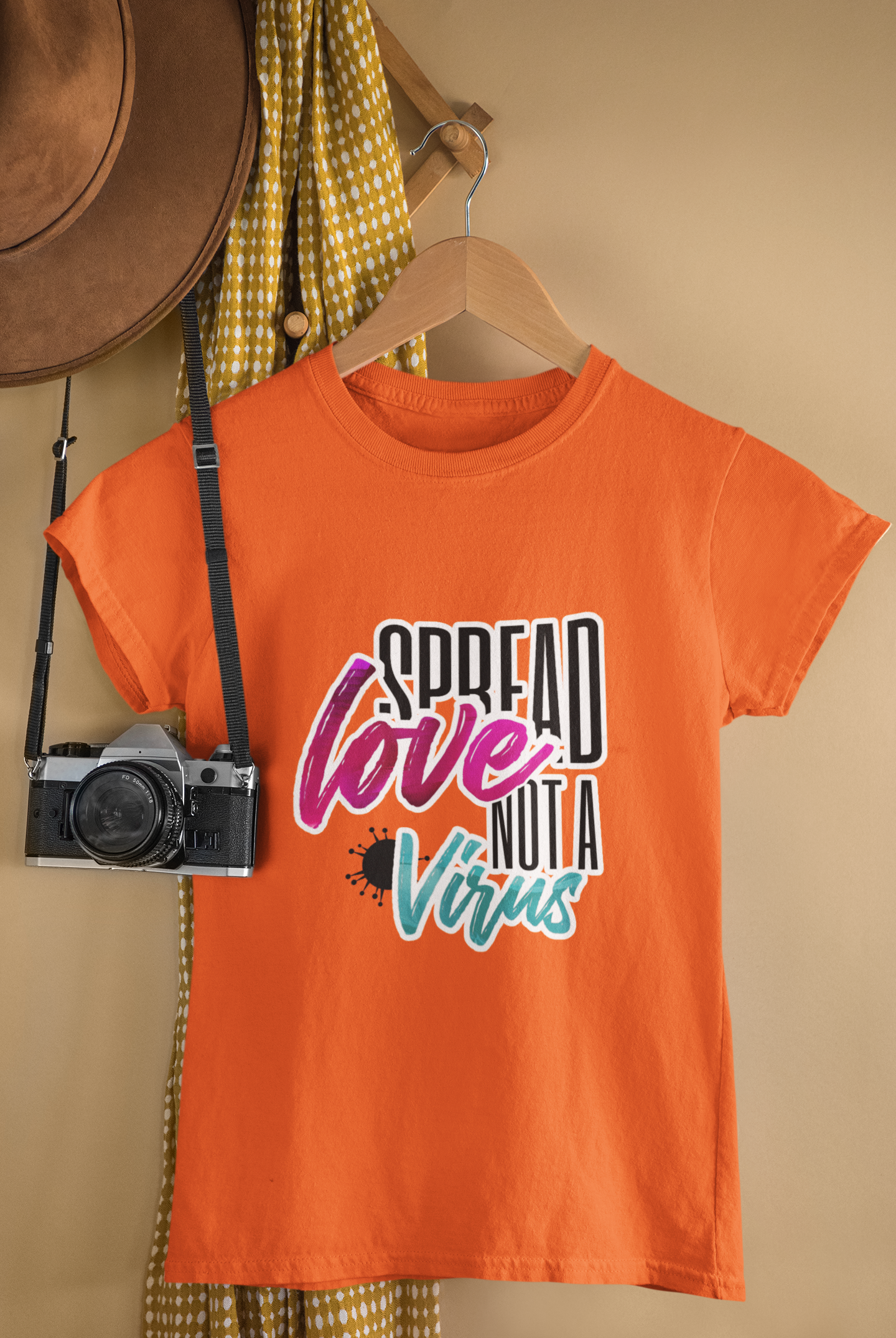 Spread Love Not a virus Orange T-shirt