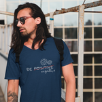 Man in navy t-shirt spreading pandemic awareness