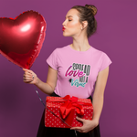 Woman with heart balloon wearing Not a virus Pink T-shirt