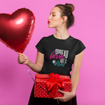 Woman with heart balloon wearing Not a virus Black T-shirt