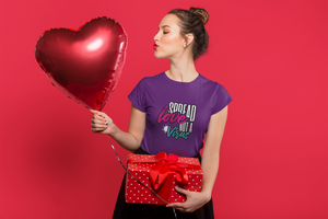 Woman with heart balloon wearing spread love Violet T-shirt