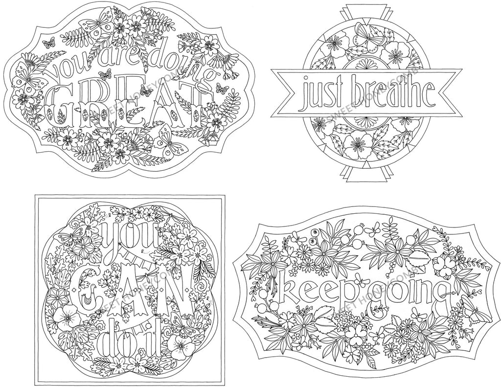 Pep Talk Collection | 7 Colouring Page Designs - Sweet Honeycomb - 1