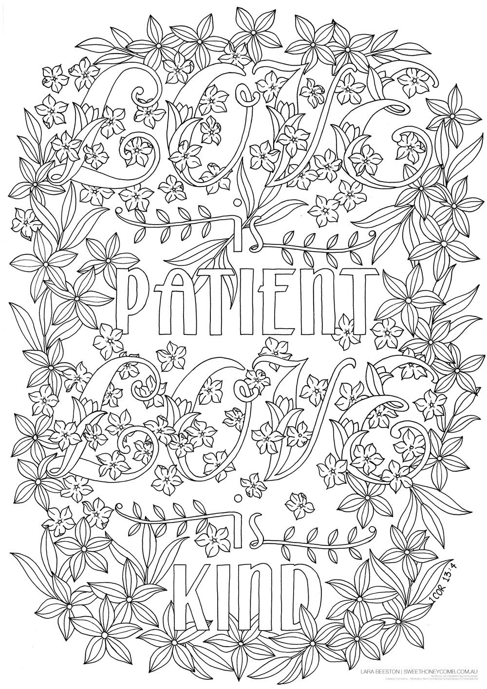 Colouring In Page | 1 Corinthians 13 - Love is Patient, Love is Kind - Sweet Honeycomb - 1