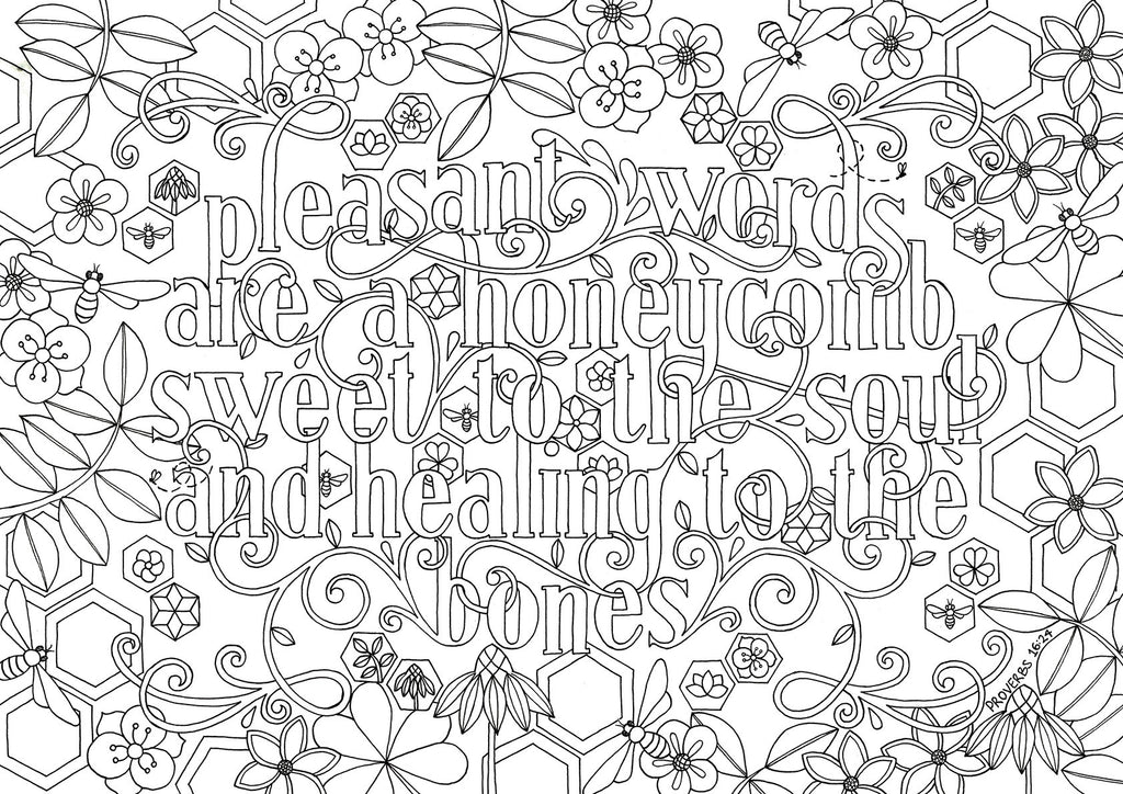 Colouring In | Pleasant Words are a Honeycomb - Proverbs 16:24 (instant download)