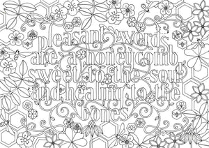 Colouring In | Pleasant Words are a Honeycomb - Proverbs 16:24