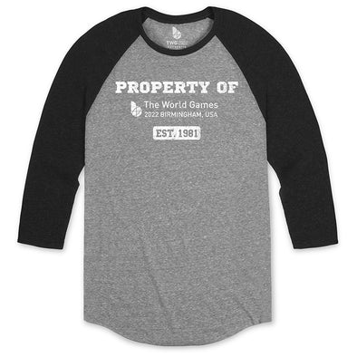 The World Games 2022 Distressed Property of Unisex Tri-Blend 3/4 Raglan Sleeve T-Shirt