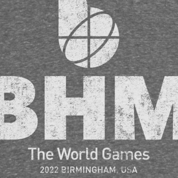 The World Games 2022 Distressed Logo BHM Unisex Tri-Blend 3/4 Raglan Sleeve T-Shirt