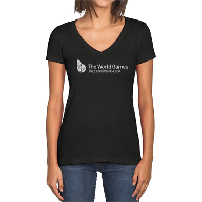 The World Games 2022 Distressed Main Logo Cross Women's Sueded V-Neck Short Sleeve T-Shirt