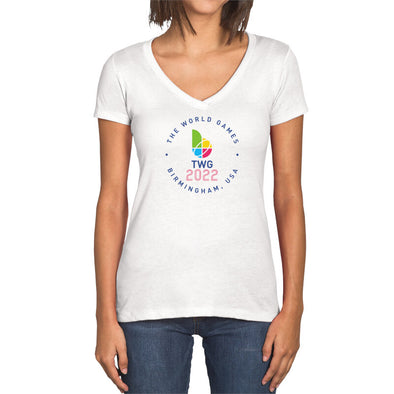 The World Games 2022 Circle TWG2022 Women's Sueded V-Neck Short Sleeve T-Shirt