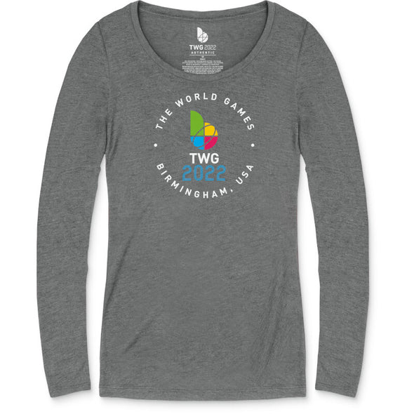 The World Games 2022 Circle TWG2022 Women's Tri-Blend Scoop Long Sleeve T-Shirt