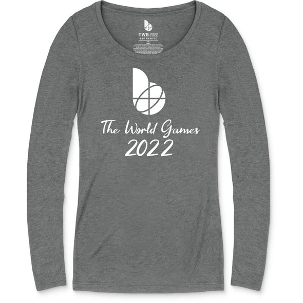 The World Games 2022 Main Script Text Women's Tri-Blend Scoop Long Sleeve T-Shirt
