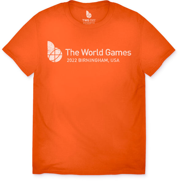 The World Games 2022 Distressed Main Logo Cross Youth Short Sleeve T-Shirt