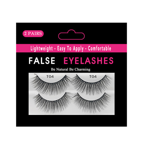 Faux Nerz Flasche Wimpern 2 Paar Pack  T04