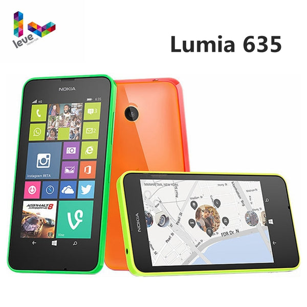 "Original Nokia Lumia 635 4G LTE Unlock Cell Phone Windows OS 4.5"" Quad Core 8G ROM 5.0MP WIFI GPS Mobile Phone"