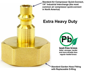 Winterize Sprinkler Systems And Outdoor Faucets: Air Compressor Quick-Connect Plug To Female Garden Faucet Blow Out Adapter Fitting (Solid Lead-Free Brass)
