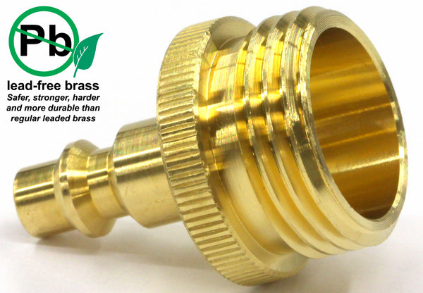 Winterize RV, Boat, Motorhome, Camper, and Travel Trailer: Air Compressor Quick-connect Plug To Male Garden Faucet Blow Out Adapter Fitting (Solid Lead-Free Brass)
