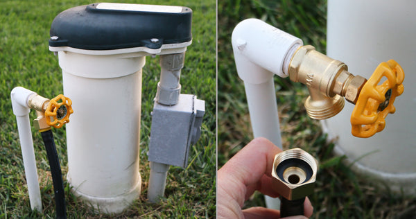 Winterize Sprinkler Systems and Outdoor Faucets: Air Compressor Quick-Connect Plug To Female Garden Hose Faucet Blow Out Adapter with Shut Off Valve (Lead-Free Brass), Industrial Plug