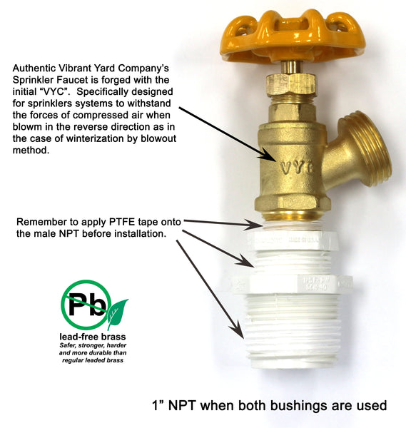 "Sprinkler Garden Faucet with 1/2"" MNPT Connection plus adapter bushings for 3/4"" MNPT and 1"" MNPT"