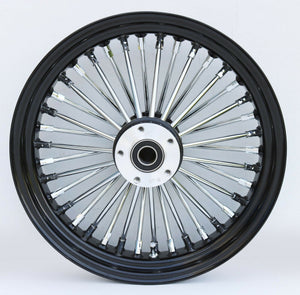 "Black & Chrome Ultima 38 King Spoke 16"" x 3.5"" Rear Wheel Harley And Custom Models"