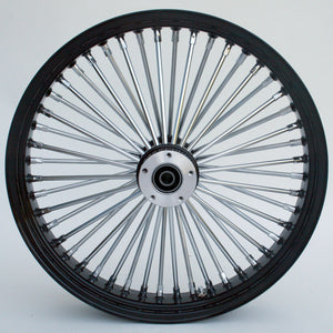 "Black & Chrome Ultima King Spoke 21"" x 2.15"" Frt Single Disc Wheel Harley Custom"