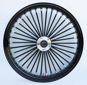 "Black Ultima 38 King Spoke 21"" x 3.5"" Front Dual Disc Wheel Harley Custom"
