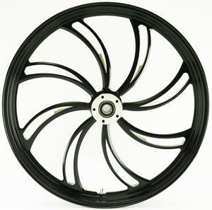 Ultima Vortex Black Cut 21 x 3.5 Front Single Disc Wheel Harley & Custom Models