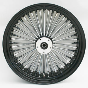 "Black & Chrome Ultima 48 King Spoke 16"" x 5.5"" Rear Wheel For Harley & Customs"