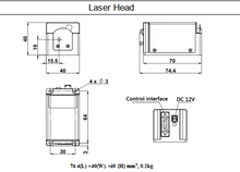 Load image into Gallery viewer, dimensions of laser head