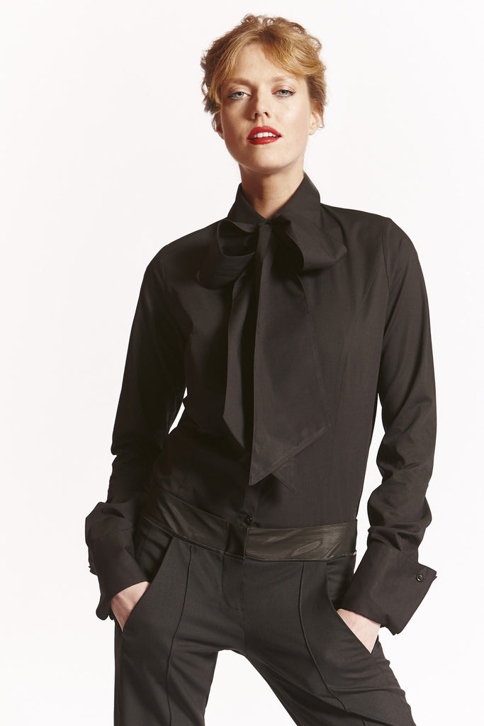 Black Wear it Your Way (Detachable Pussy Bow) Shirt